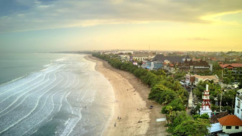 Photo shows an aerial view of a beach in Bali, Indonesia.