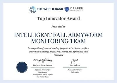 Tano Security and Taiwan's National Chung Hsing University, winner of the Top Innovator Prize of the World Bank's 2020 Agriculture Risk Innovation Challenge