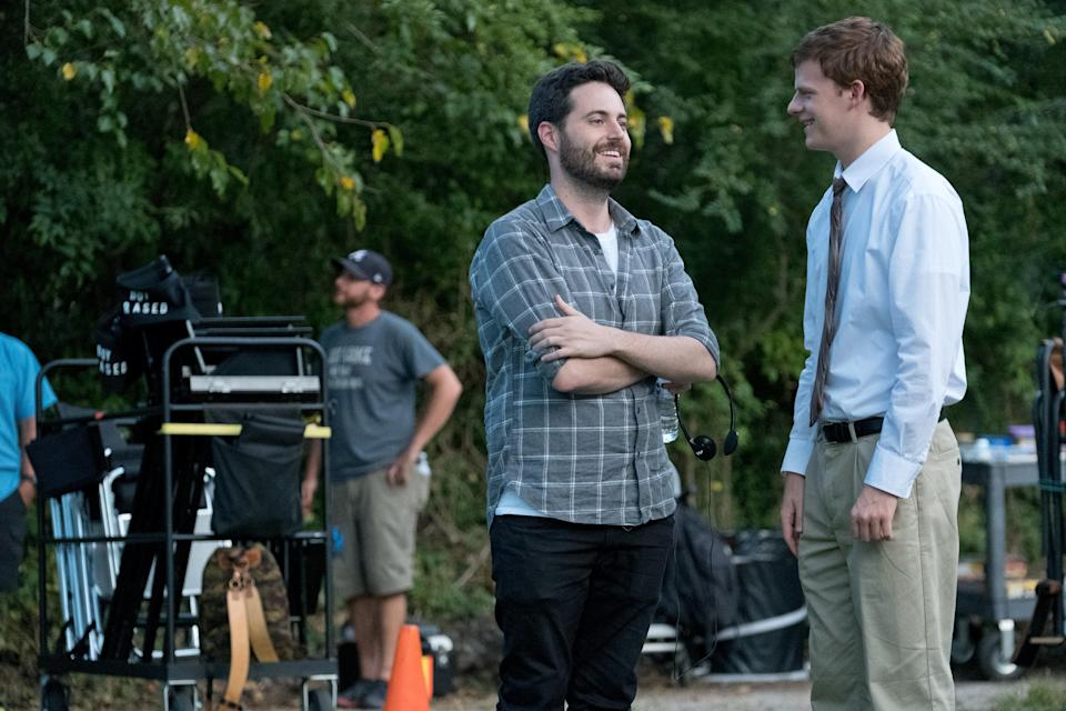 Writer Garrard Conley with Lucas Hedges on the set of Boy Erased