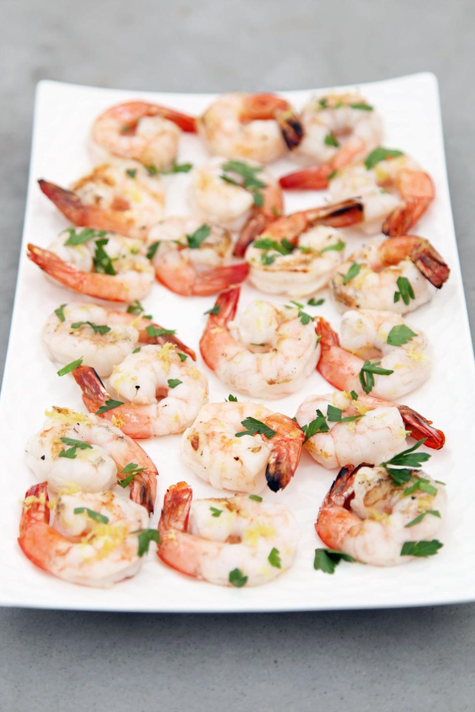 "<p>This is possibly the best (and easiest) grilled shrimp recipe you'll ever make. All you need is salt, lemon, and parsley.</p> <p><strong>Get the recipe:</strong> <a href=""https://www.popsugar.com/food/Easy-Grilled-Shrimp-Lemon-Recipe-37964178"" class=""link rapid-noclick-resp"" rel=""nofollow noopener"" target=""_blank"" data-ylk=""slk:lemony grilled shrimp"">lemony grilled shrimp</a></p>"