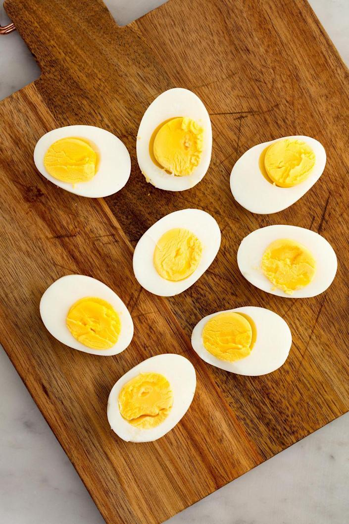 """<p>Everyone should know how to make hard boiled eggs.</p><p>Get the recipe from <a href=""""https://www.delish.com/cooking/recipe-ideas/recipes/a58284/how-to-make-perfect-hard-boiled-eggs/?visibilityoverride"""" rel=""""nofollow noopener"""" target=""""_blank"""" data-ylk=""""slk:Delish"""" class=""""link rapid-noclick-resp"""">Delish</a>. </p>"""