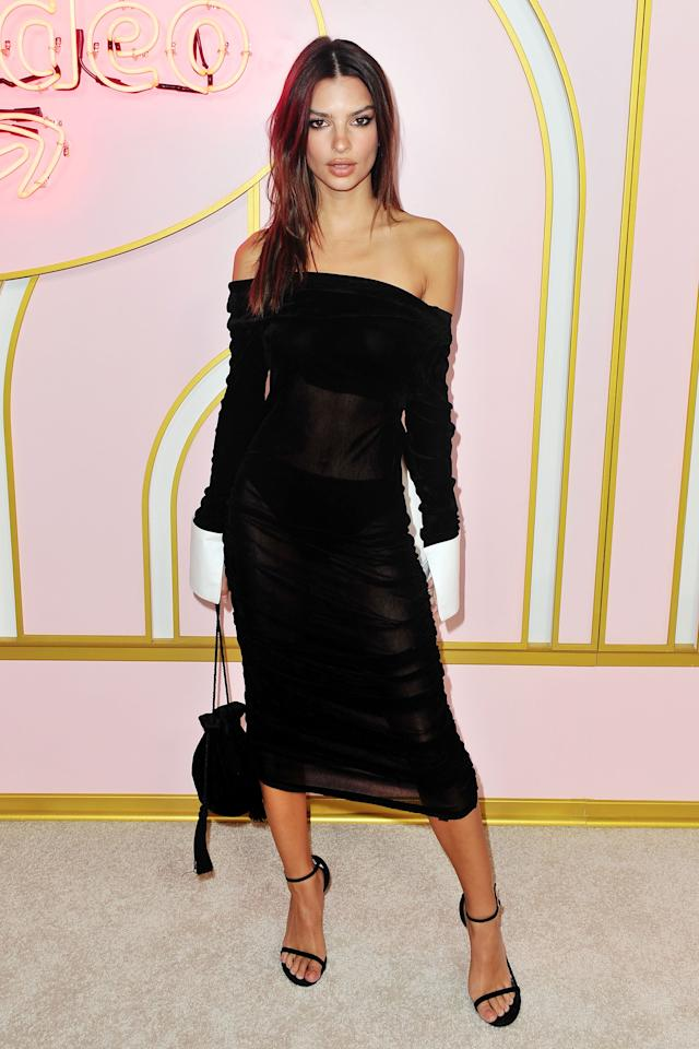 <p>Em attended the Amazon Prime after party where she stunned in a jaw-dropping see through black number. Source: Getty </p>
