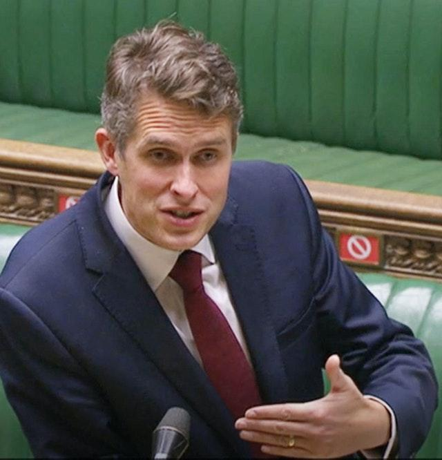 Education Secretary Gavin Williamson is due to give an update on the plan for the reopening of schools in England (House of Commons/PA)