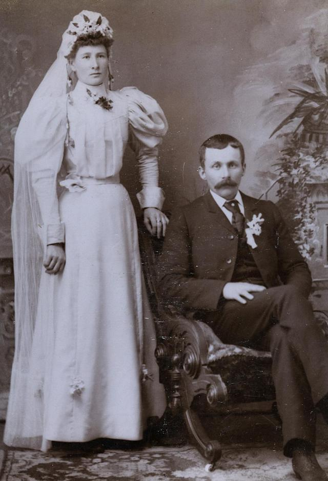 """<p>The majority of the images, Frank said, were sourced from flea markets in New York City and online stores.(Pictured: Vintage wedding portraits from """"I Do, I Do"""" exhibit) </p>"""