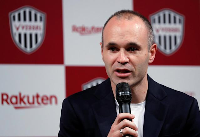 Spain midfielder Andres Iniesta attends a news conference to announce signing for J-League side Vissel Kobe in Tokyo, Japan May 24, 2018. REUTERS/Toru Hanai