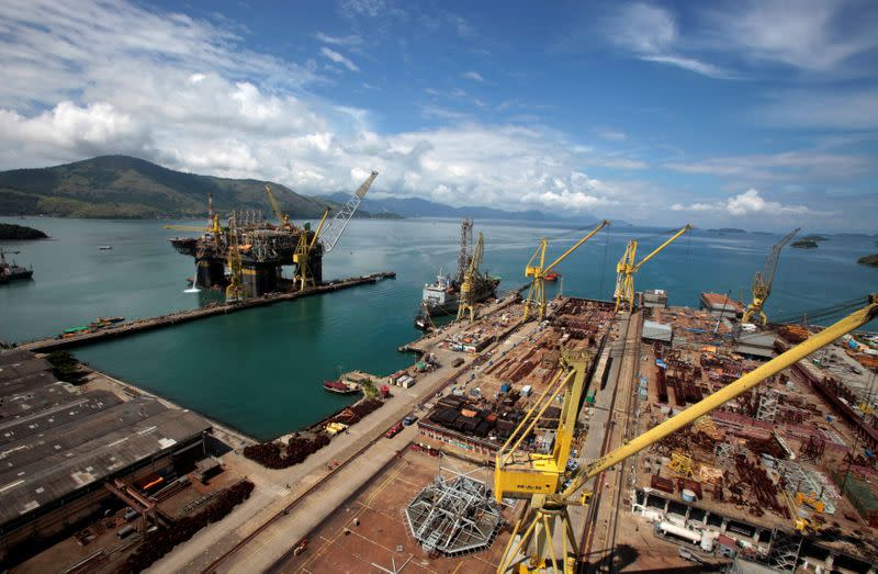 FILE PHOTO: An aerial view of the final stage of the construction of the new P-56 semi-submersible production platform for the oil company Petrobas at the Brasfels shipyard in Angra dos Reis
