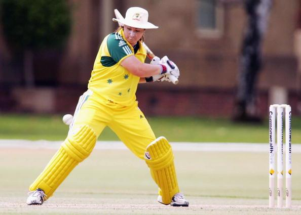 ADELAIDE, AUSTRALIA - FEBRUARY 26: Karen Rolton of Australia in action during the second Women's International One Day match between Australia and India at St Peters College February 26, 2006 in Adelaide, Australia. (Photo by James Knowler/Getty Images)