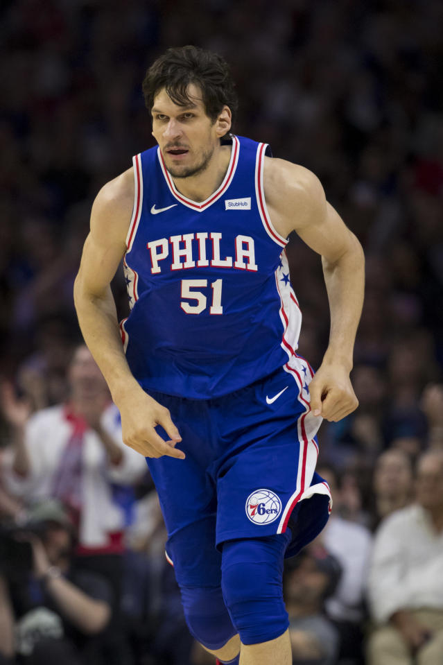 PHILADELPHIA, PA - APRIL 23: Boban Marjanovic #51 of the Philadelphia 76ers runs up the court against the Brooklyn Nets in Game Five of Round One of the 2019 NBA Playoffs at the Wells Fargo Center on April 23, 2019 in Philadelphia, Pennsylvania. (Photo by Mitchell Leff/Getty Images)