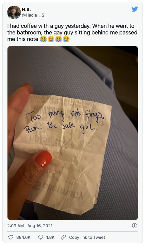 Tweet about woman getting note from stranger about her date