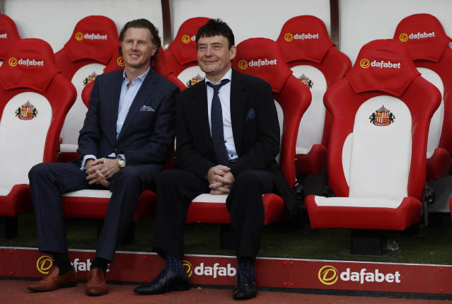 "Britain Football Soccer - Sunderland v Everton - Premier League - Stadium of Light - 12/9/16 Snooker player Jimmy White and Steve McManaman (L) sit on the bench before the match Action Images via Reuters / Lee Smith Livepic EDITORIAL USE ONLY. No use with unauthorized audio, video, data, fixture lists, club/league logos or ""live"" services. Online in-match use limited to 45 images, no video emulation. No use in betting, games or single club/league/player publications. Please contact your account representative for further details."