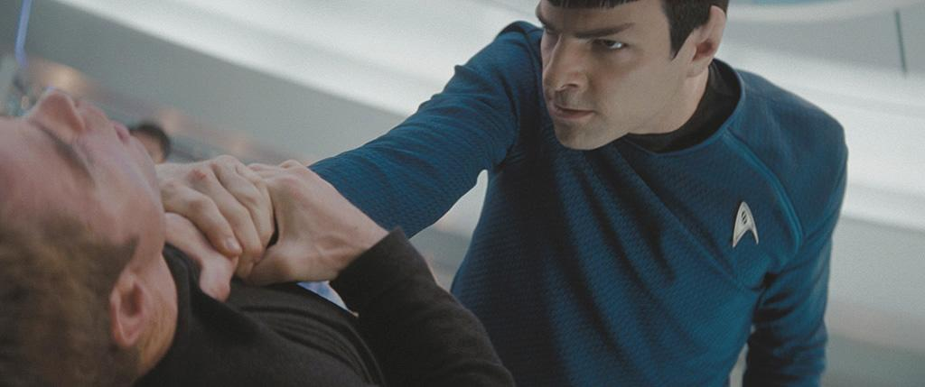 "Here is the first shot of ""Heroes"" star <a href=""http://movies.yahoo.com/movie/contributor/1808558768"">Zachary Quinto</a> as Mr. Spock, strong-arming someone (is it Kirk?) with his superior Vulcan strength. I asked if this means Spock would be more of an action hero this time around. They responded that they made sure the character of Spock stayed ""very consistent"" to his roots, but that the movie was getting an ""action upgrade."" Kurtzman said that with advances in technology and the investment the studio was putting into the movie, it was natural that this ""Star Trek"" would have far more action sequences than any previous installment."