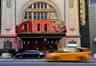 The AMC Empire 25 off Times Square in New York City is partially reopen for the first time in a year