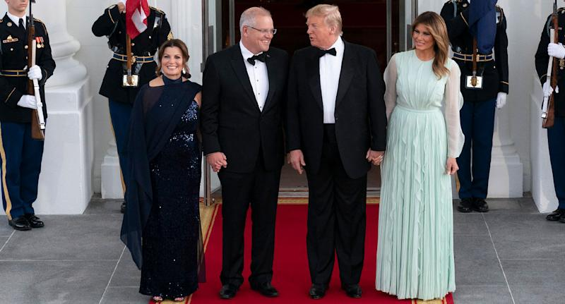 Australian prime minister Scott Morrison and his wife, Jenny, at the White House for a state dinner with Donald and Melania Trump.