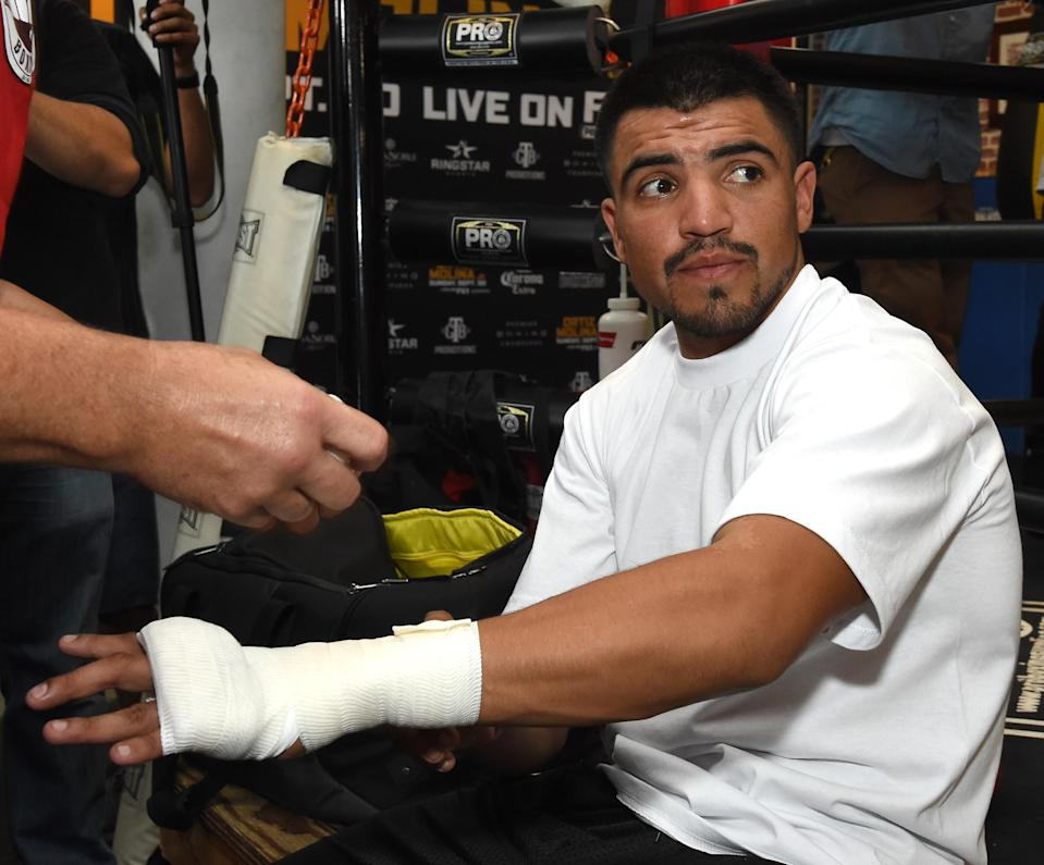 Former welterweight champion Victor Ortiz gets his hands taped to participate in a media workout at Fortune Gym on Sept 20, 2018, in Los Angeles. (Getty Images)