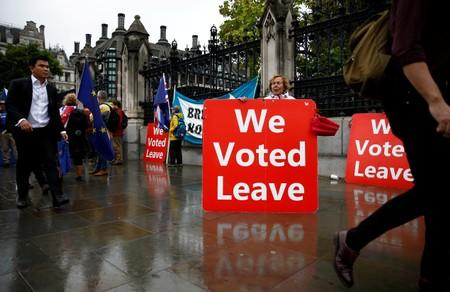 FILE PHOTO: Pro-Brexit protester holds a placard in Westminster, London