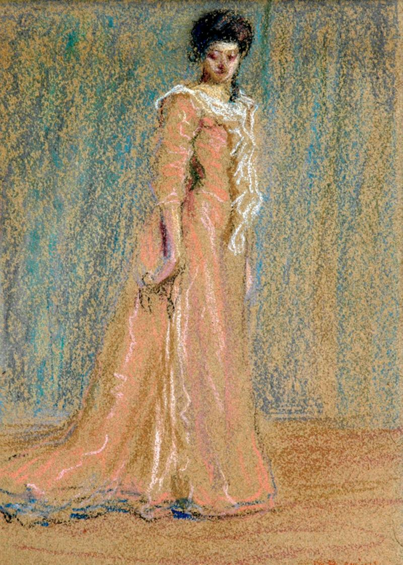 The Pink Gown (also called The Woman in Pink), c. 1895, pastel. Shown at the New York Watercolor Society and the Pennsylvania Academy of Fine Arts in 1895.