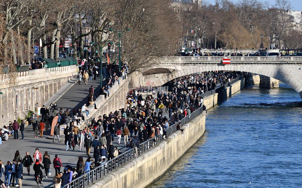Crowds on the banks of the Seine, Paris – pictured on February 28 - Getty