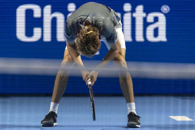 Germany's Alexander Zverev reacts as he plays Taylor Fritz of the United States during their first round match at the Swiss Indoors tennis tournament at the St. Jakobshalle in Basel, Switzerland, on Tuesday, October 22, 2019. (Georgios Kefalas, Keystone via AP)