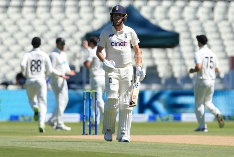 Quickly out - England's Olly Stone walks back to the pavilion after losing his wicket to the first ball of Sunday's play in the second Test against New Zealand at Edgbaston