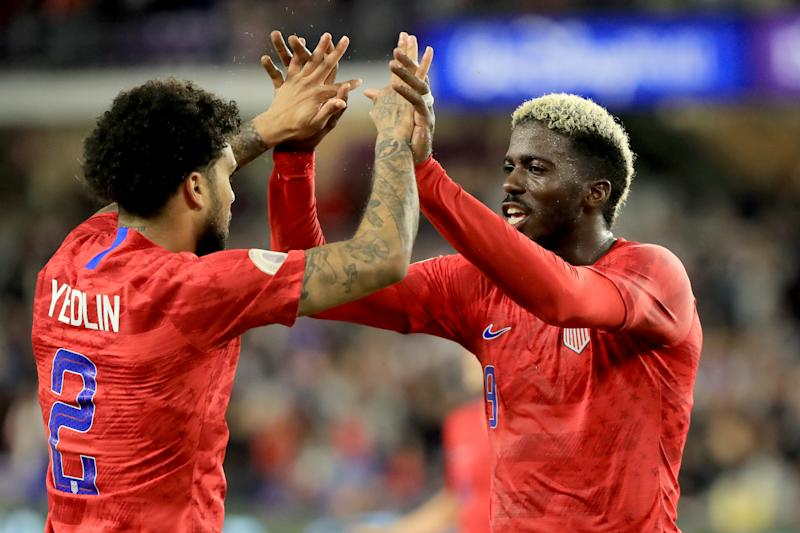 U.S. forward Gyasi Zardes (right) is congratulated by DeAndre Yedlin after scoring his second goal Friday night against Canada (Sam Greenwood/Getty)