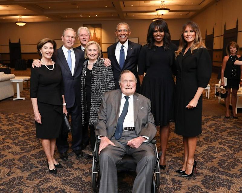 Former President George W. Bush (second from left) and former First Lady Michelle Obama (second from right) in 2018 | Paul Morse/George W. Bush Presidential Center via Getty