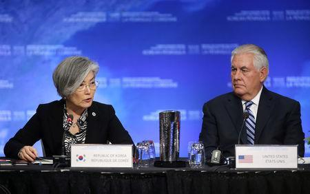 U.S. Secretary of State Rex Tillerson talks with South Korean Minister of Foreign Affairs Kang Kyung-wha during the Foreign Ministers' Meeting on Security and Stability on the Korean Peninsula in Vancouver, British Columbia, Canada, January 16, 2018. REUTERS/Ben Nelms