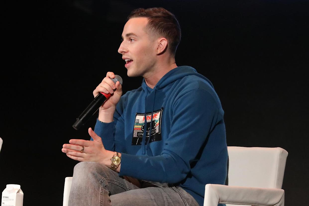 DETROIT, MICHIGAN - OCTOBER 28: Adam Rippon speaks during the Forbes 30 Under 30 Summit at Detroit Masonic Temple on October 28, 2019 in Detroit, Michigan. (Photo by Taylor Hill/Getty Images)