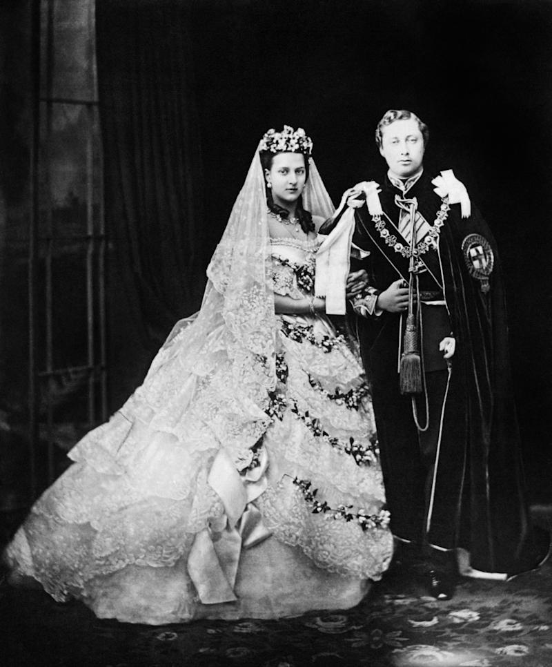 Queen Alexandra on her wedding day to Edward VII in 1863.