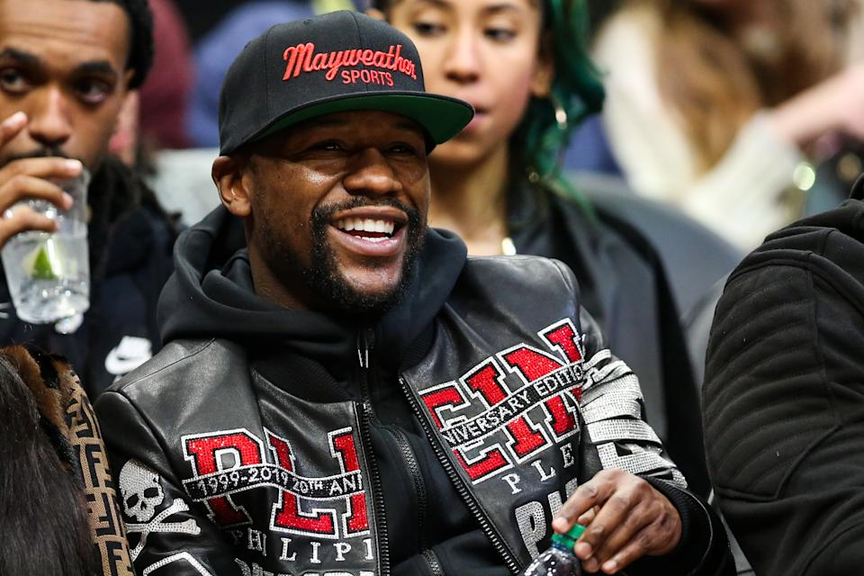 ATLANTA, GA - DECEMBER 27: Floyd Mayweather is seen at a game between the Atlanta Hawks and the Milwaukee Bucks at State Farm Arena on December 27, 2019 in Atlanta, Georgia. NOTE TO USER: User expressly acknowledges and agrees that, by downloading and or using this photograph, User is consenting to the terms and conditions of the Getty Images License Agreement. (Photo by Carmen Mandato/Getty Images)
