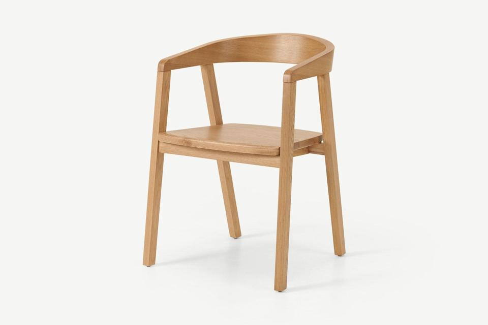"""<strong>Under £150</strong><br><br>This dining chair is a masterclass in timeless design. I love the colour of the oak and the clean lines ooze Scandi simplicity.<br><br><strong>Made</strong> Carver Dining Chair, Oak, $, available at <a href=""""https://www.made.com/robson-carver-dining-chair-oak"""" rel=""""nofollow noopener"""" target=""""_blank"""" data-ylk=""""slk:Made"""" class=""""link rapid-noclick-resp"""">Made</a>"""