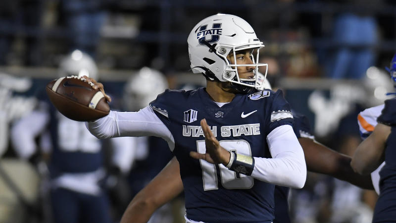 Utah State quarterback Jordan Love (10) throws the ball against Boise State during the second half of an NCAA college football game Saturday, Nov. 23, 2019, in Logan, Utah. (AP Photo/Eli Lucero)