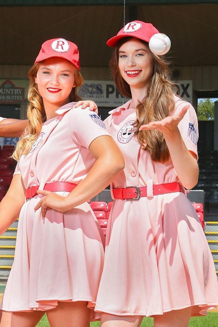 """<p>Batter up! Hit a home run with your teen or tween by going as two Rockford Peaches from the 1992 hit <em>A League of Their Own</em>. The movie is currently being adapted into an <a href=""""https://www.thepioneerwoman.com/news-entertainment/a33548100/a-league-of-their-own-show-news-cast-date-spoilers/"""" rel=""""nofollow noopener"""" target=""""_blank"""" data-ylk=""""slk:Amazon Prime TV series"""" class=""""link rapid-noclick-resp"""">Amazon Prime TV series</a>, so your timing will be perfect.</p><p><a class=""""link rapid-noclick-resp"""" href=""""https://www.amazon.com/Womens-Deluxe-Dottie-League-Costume/dp/B083TCTQVV?tag=syn-yahoo-20&ascsubtag=%5Bartid%7C2164.g.37079496%5Bsrc%7Cyahoo-us"""" rel=""""nofollow noopener"""" target=""""_blank"""" data-ylk=""""slk:SHOP ADULT COSTUME"""">SHOP ADULT COSTUME</a></p><p><a class=""""link rapid-noclick-resp"""" href=""""https://www.amazon.com/Girls-League-Their-Dottie-Costume/dp/B012COQUSM/ref=sr_1_2?tag=syn-yahoo-20&ascsubtag=%5Bartid%7C2164.g.37079496%5Bsrc%7Cyahoo-us"""" rel=""""nofollow noopener"""" target=""""_blank"""" data-ylk=""""slk:SHOP KID COSTUME"""">SHOP KID COSTUME </a></p>"""