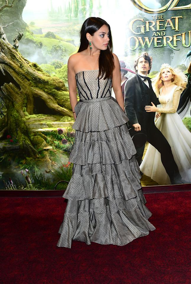 Mila Kunis attends Walt Disney Pictures European Premiere of 'Oz: The Great And Powerful' at the Empire Leicester Square in London on Thursday, Feb. 28, 2013. (Jon Furniss/Invision for Disney/AP)