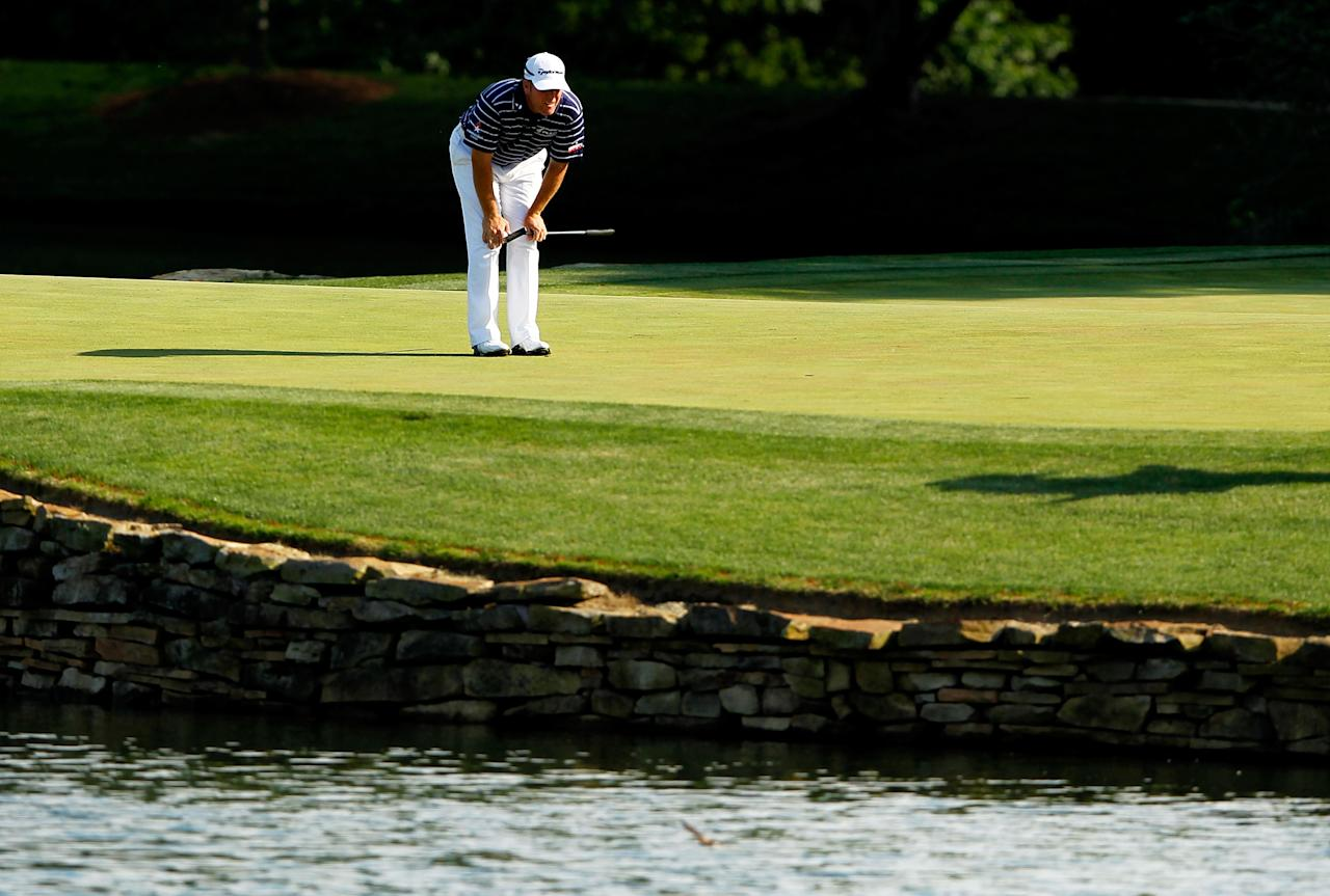 CHARLOTTE, NC - MAY 05:  D.A. Points of the United States lines up his putt on the 17th green during the third round of the Wells Fargo Championship at the Quail Hollow Club on May 5, 2012 in Charlotte, North Carolina.  (Photo by Streeter Lecka/Getty Images)
