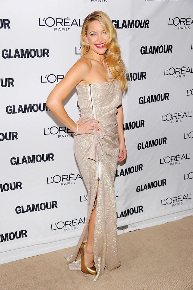 "Kate Hudson channeled Old Hollywood in her gorgeous gold lame one-shoulder Lanvin Resort 2011 gown. Red lips, bold gold heels, and a glam, wavy 'do completed her look. Dimitrios Kambouris/<a href=""http://www.wireimage.com"" target=""new"">WireImage.com</a> - November 8, 2010"