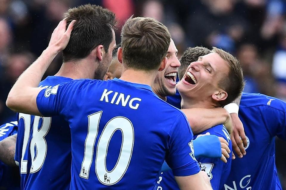 """""""We've got that never-say-die attitude. I think that's won us a lot of points this season,"""" Leicester City's Marc Albrighton (R) said (AFP Photo/Ben Stansall)"""