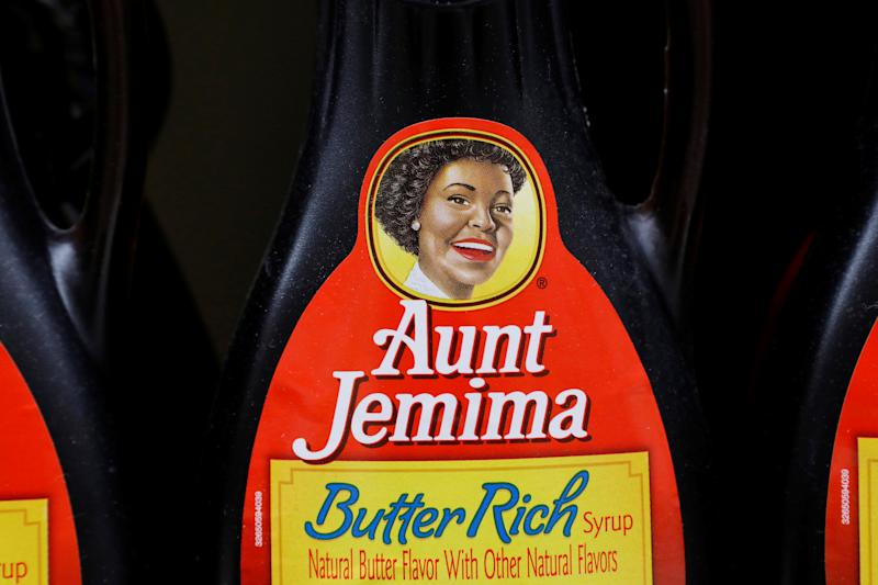 Bottles of Aunt Jemima branded syrup stand on a store shelf inside of a shop in the Brooklyn borough of New York City, New York, U.S., June 17, 2020. REUTERS/Brendan McDermid