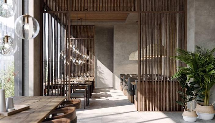 A rendering of the upstairs dining room at the new Kaori restaurant in Brickell