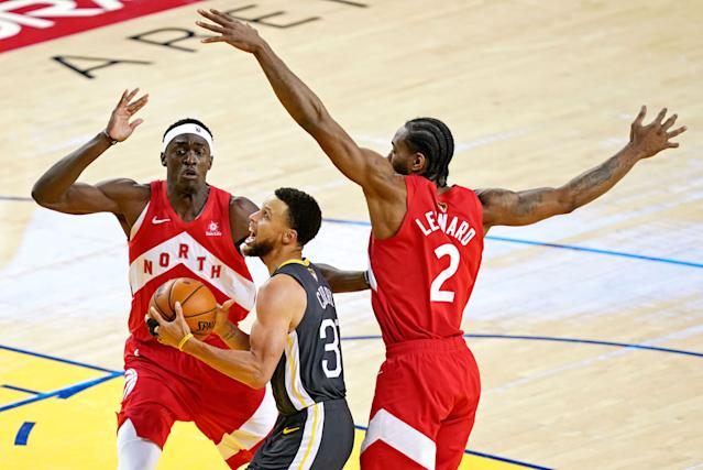 Toronto Raptors forward Pascal Siakam couldn't help but tease Kawhi Leonard during his media availability Sunday. (Kyle Terada-USA TODAY Sports)