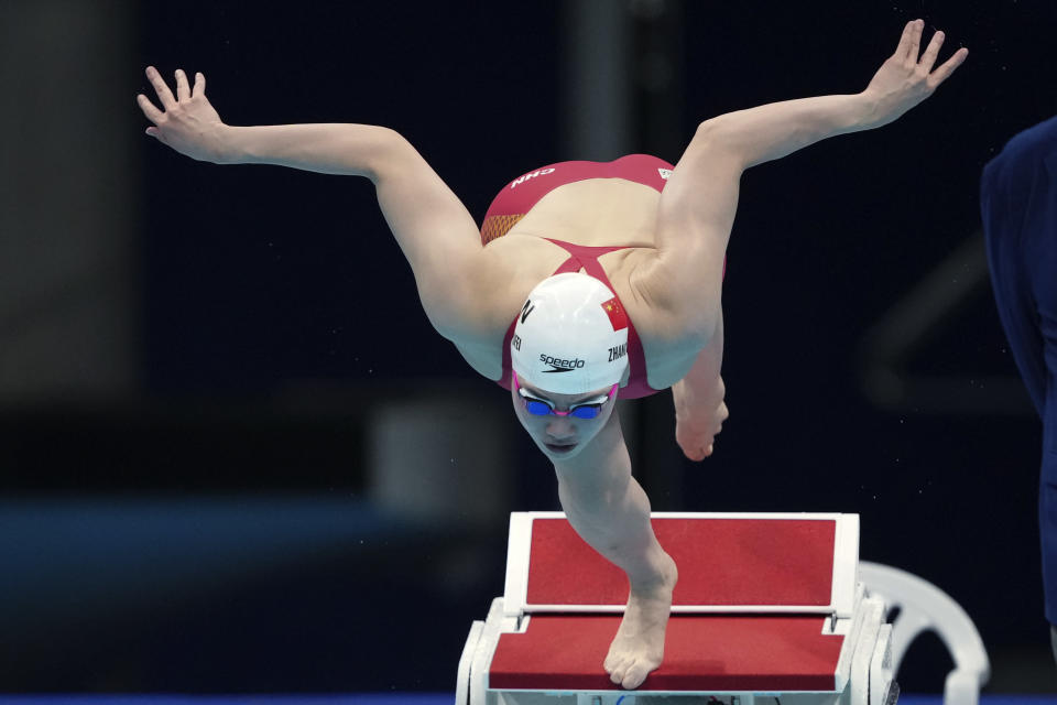 Zhang Yufei of China starts in the women's 200-meter butterfly final at the 2020 Summer Olympics, Thursday, July 29, 2021, in Tokyo, Japan. (AP Photo/Matthias Schrader)