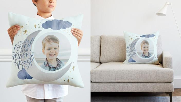 You can put your child's face on this sweet pillow.