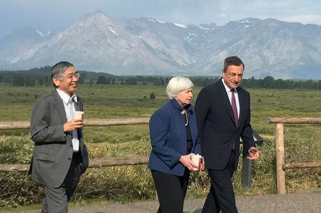 FILE PHOTO:    Governor of the Bank of Japan Kuroda, United States Federal Reserve Chair Yellen and President of the European Central Bank Draghi walk after posing for a photo opportunity during the annual central bank research conference in Jackson Hole