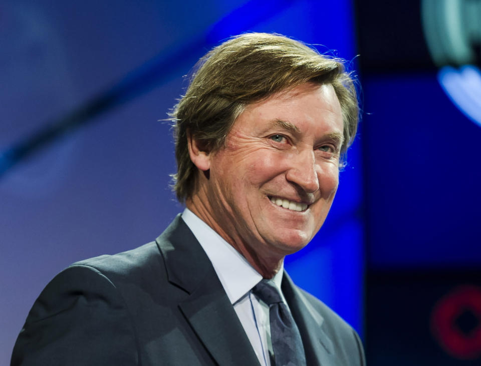 FILE - In this Dec. 10, 2017, file photo, former Edmonton Oilers great Wayne Gretzky speaks to media in Toronto. The Associated Press asked eight of the greatest current and former champions, including Gretzky, from seven different sports to find out what impressed them most about Tom Brady. (Christopher Katsarov/The Canadian Press via AP, File)