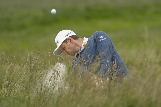 Justin Rose, of England, hits out of a bunker on the third hole during the third round of the U.S. Open golf tournament Saturday, June 15, 2019, in Pebble Beach, Calif. (AP Photo/Matt York)