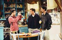 """<p>If a scene didn't start out at Central Perk, chances are it was in this colorful apartment kitchen, where at least two of the """"Friends"""" lived at any given time. The open shelving served as the backdrop for Monica's cooking endeavors, plenty of holiday dinners and too many group hugs to count.</p>"""