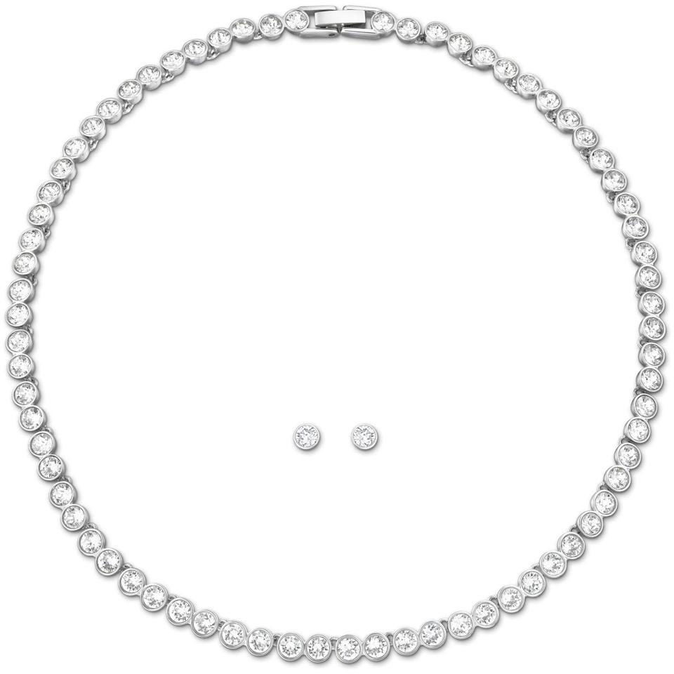 """<p><a class=""""link rapid-noclick-resp"""" href=""""https://go.redirectingat.com?id=127X1599956&url=https%3A%2F%2Fwww.swarovski.com%2Fen_GB-GB%2Fp-5007747%2FTennis-Set-White-Rhodium-plated%2F&sref=https%3A%2F%2Fwww.harpersbazaar.com%2Fuk%2Ffashion%2Fjewellery-watches%2Fg35190301%2Fsex-and-the-citys-best-jewellery-moments%2F"""" rel=""""nofollow noopener"""" target=""""_blank"""" data-ylk=""""slk:SHOP NOW"""">SHOP NOW</a></p><p>Crystal tennis necklace and earring set, £169, <a href=""""https://go.redirectingat.com?id=127X1599956&url=https%3A%2F%2Fwww.swarovski.com%2Fen_GB-GB%2F&sref=https%3A%2F%2Fwww.harpersbazaar.com%2Fuk%2Ffashion%2Fjewellery-watches%2Fg35190301%2Fsex-and-the-citys-best-jewellery-moments%2F"""" rel=""""nofollow noopener"""" target=""""_blank"""" data-ylk=""""slk:Swarovski"""" class=""""link rapid-noclick-resp"""">Swarovski</a></p>"""