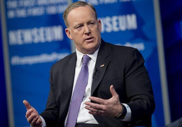 """White House press secretary Sean Spicer speaks during """"The President and the Press: The First Amendment in the First 100 Days"""" forum at the Newseum in Washington, April 12, 2017. (Photo: Saul Loeb/AFP/Getty Images)"""