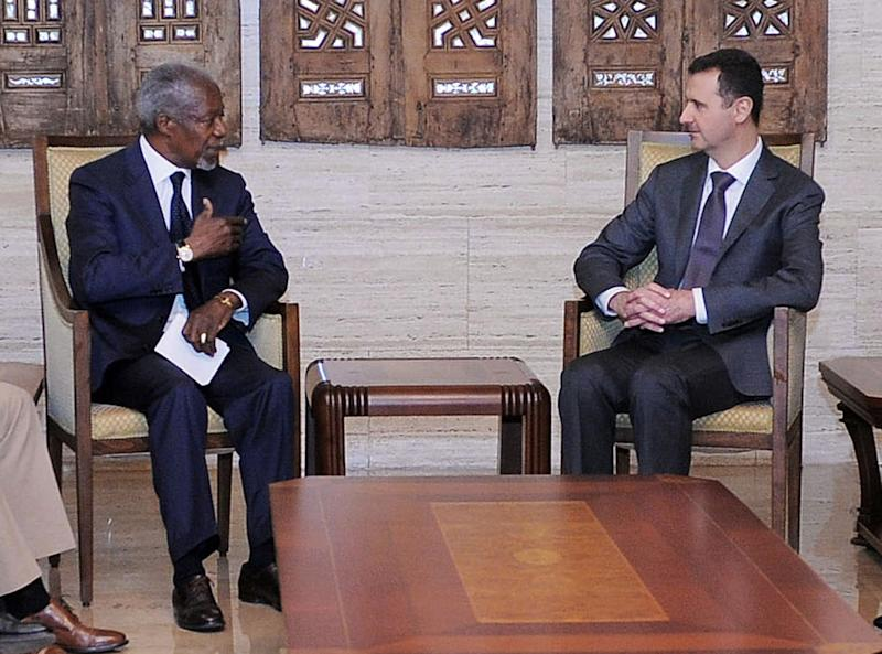 "In this photo provided by the Syrian official news agency SANA, Syrian President Bashar Assad, right, meets with Kofi Annan, the U.N.-Arab League Joint Special Envoy for Syria, in Damascus, Syria. The meeting Tuesday followed a massacre in Houla, Syria, last week in which more than 100 people were killed, some of them women, children and entire families gunned down in their own homes. Following the meeting, Annan told reporters ""We are at a tipping point."" (AP Photo/SANA)"
