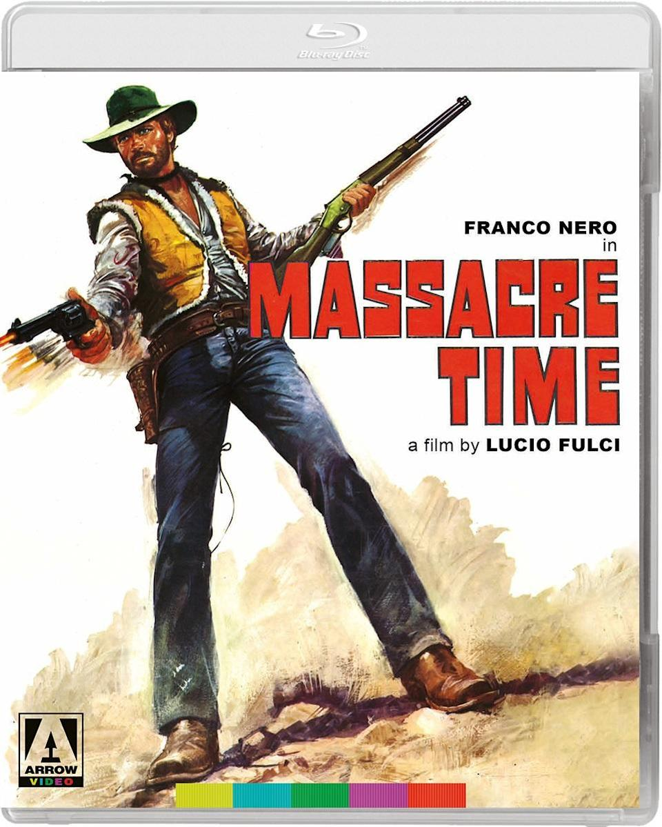 The Blu-ray cover for Massacre Time in the Vengeance Trails box set.