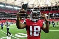 <p>Taylor Gabriel #18 of the Atlanta Falcons celebrates after the game against the Arizona Cardinals at the Georgia Dome on November 27, 2016 in Atlanta, Georgia. (Photo by Scott Cunningham/Getty Images) </p>